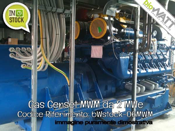 Pronta Consegna: Gas Genset MWM da 2 MWe   Rif. bWstock-06MWM